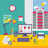 Business Office Workplace in Flat Design Style Stock Photography
