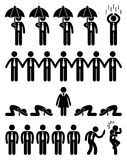 Business Office Workplace Scenario. A set of pictogram representing situation in workplace or office Stock Photography
