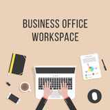 Business office workspace with laptop Royalty Free Stock Images