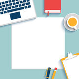 Business office and workspace. Set of Flat vector design illustration of modern business office and workspace. Blank paper, mock up. Top view of desk background Royalty Free Stock Photos