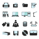 Business and officer icon set. The Business and officer hardware icon set Stock Photo