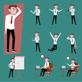 business officer salary man in working uniform. Many action of the man using smartphone, working with pc laptop on work desk stock illustration