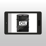 Business oil barrel smartphone Stock Photos