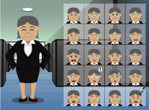 Business Old Woman Cartoon Emotion faces Vector Illustration Royalty Free Stock Images