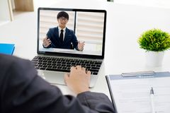 Online job interview. Online conference. Business online. Royalty Free Stock Photography