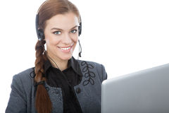Business online customer service reprezentative. Isolated over a white background Royalty Free Stock Photos
