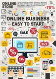 Business online infographic, linear vector stock illustration