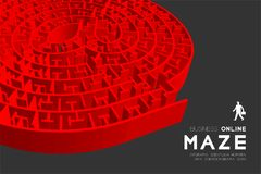Business online Maze or labyrinth At sign shape red color with businessman, 3D design illustration. Isolated on dark background, with copy space Royalty Free Stock Photos