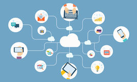 Business online network on cloud device application vector Royalty Free Stock Images