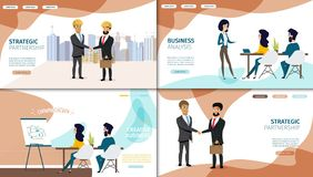 Business Online Services Vector Web Banners Set stock illustration