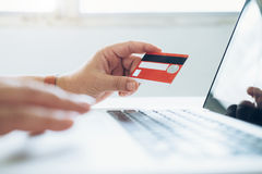 Business online shopping concept. People shopping and pay by cre. Deit card Royalty Free Stock Image