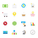 Business and Online Shopping Icons. Set of Business and Finance Vector Illustration Icons Flat Style. Royalty Free Stock Photo