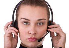 Business operator woman support customer. Royalty Free Stock Photo
