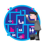Business opportunities. Businessman searching for new opportunities. Stylist illustration stock illustration