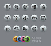Business Opportunities and Strategies Pearly Series. The Vector file includes 5 color versions for each icon in different layers Stock Photography