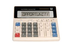 Business opportunity. A word opportunity display on calculator Royalty Free Stock Image