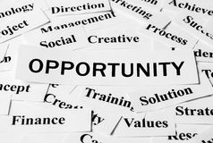 Business Opportunity. Opportunity concept with some related words paper royalty free stock photo