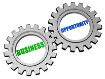 Business opportunity in silver grey gears Stock Photo