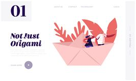 Free Business Or Origami Hobby Concept Website Landing Page. Young Happy Couple Stand In Paper Ship Stock Images - 161712204