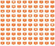 Business orange message icons set Royalty Free Stock Photo