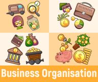 Business organisation concept banner, cartoon style. Business organisation concept banner. Cartoon banner of business organisation vector concept for web royalty free illustration