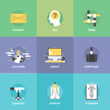 Business organization elements flat icons set. Flat icons set of organization planning process, business strategic vision and tactics, team building and Stock Illustration