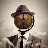Business orientation and indications. Man with a vintage compass as head. business orientation and indications concept royalty free stock photos