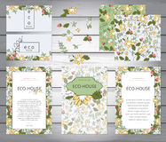 Business or other event painted floral background. Design stationery set in vector format. Corporate design. Wedding, shabby chic. Yellow flowers and berries Stock Photos