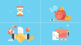 Business in out animated flat icons set stock footage