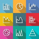 Business outline Charts and Graph Icons Stock Images