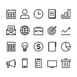 Business outline icon set. Isolated on white background, vector illustration Stock Photos