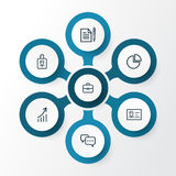 Business Outline Icons Set. Collection Of Growing Chart, Id Card, Conversation And Other Elements. Also Includes Symbols. Business Outline Icons Set. Collection Royalty Free Stock Photos
