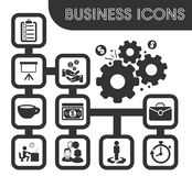 Business outline icons set. And symbols for web user interface Royalty Free Stock Photo