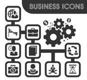 Business outline icons set. And symbols for web user interface Royalty Free Stock Photography