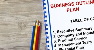 Business outline plan concept. Presentation on company goal vision and strategy Stock Photo