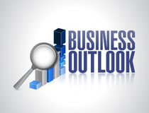 Business outlook business graph and magnify Royalty Free Stock Photo