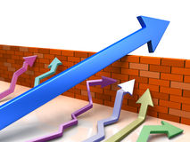 Business overcomes obstacles. conceptual  illustration. Business overcomes obstacles applying different strategy. Blue arrow goes across brick wall. Conceptual Stock Photos