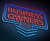 Business owners concept. 3d Illustration depicting an illuminated neon sign with a business owners concept Stock Images