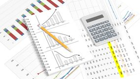Business paper documents with info charts. Pencil and calculator Royalty Free Stock Photo