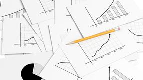 Business paper documents pile. With info charts and pencil Royalty Free Stock Photos