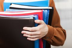 Business paper files in hand Stock Photography