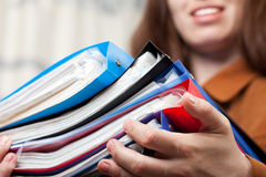Business paper files in hand Royalty Free Stock Images