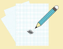 Business. Paper and a pencil with drawing Royalty Free Stock Images