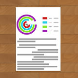 Business paper sheet document. Financial color graph data, vector illustration Stock Photo