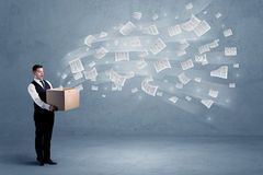 Business papers flying from box Stock Photo