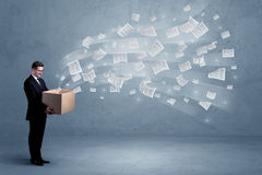 Business papers flying from box Royalty Free Stock Photography