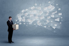 Business papers flying from box Royalty Free Stock Images
