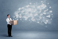 Business papers flying from box Stock Image