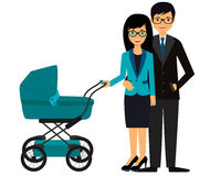 Business parents with pram Royalty Free Stock Photography