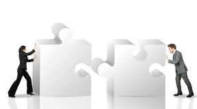Business partner. Move puzzle pieces